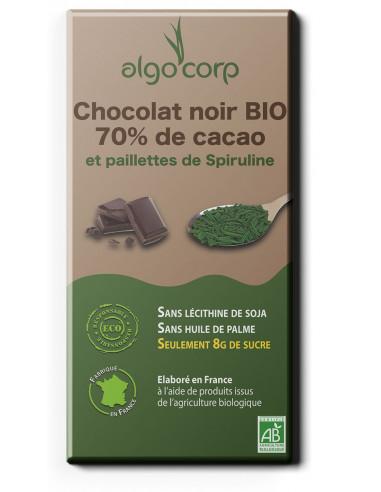 Chocolat noir BIO 70% de cacao aux paillettes de spiruline